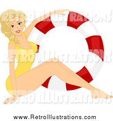 Retro Illustration of a Blond Pinup Girl in a Swimsuit by a Life Buoy by BNP Design Studio