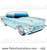 Retro Illustration of a Blue 1957 Chevy Bel Air Car with a White Roof and Silver Detailing by Andy Nortnik
