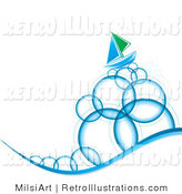 Retro Illustration of a Blue and Green Sailboat Sailing on Tall Bubble Waves by MilsiArt