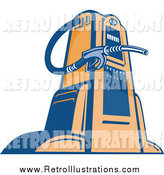 Retro Illustration of a Blue and Orange Gas Station Pump by Patrimonio