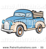 Retro Illustration of a Blue and Tan Pickup Truck on White by Andy Nortnik