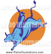 Retro Illustration of a Blue Bull and Rodeo Cowboy by Patrimonio