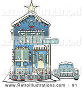 Retro Illustration of a Blue Car Covered in Snow Outside a Victorian House Decorated in Christmas Lights at 2365 Main Street - Old Fashioned by Andy Nortnik