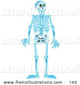 Retro Illustration of a Blue Human Skeleton Standing Upright and Looking Right by Andy Nortnik