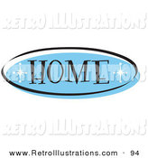 Retro Illustration of a Blue Oval Home Website Button That Could Link to the Home Page on a Site by Andy Nortnik