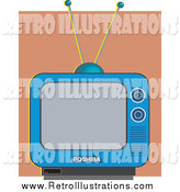 Retro Illustration of a Blue Retro TV Against a Brown Wall by Prawny