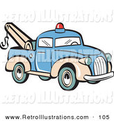 Retro Illustration of a Blue Toy Tow Truck with a Hook Driving Right by Andy Nortnik