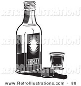Retro Illustration of a Bottle of Whiskey by a Shot Glass in a Bar on White by Andy Nortnik