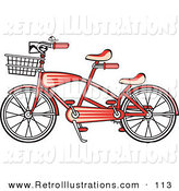 Retro Illustration of a Brand New Red Tandem Bike with a Basket on the Front Retro by Andy Nortnik