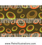 Retro Illustration of a Brown Background of Yellow and Orange Circles by KJ Pargeter