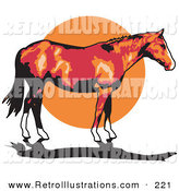 Retro Illustration of a Brown Horse with White Feet Standing Profiled Against a Sunset by Andy Nortnik