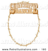 Retro Illustration of a Brown Oval Frame Made of Barbed Wire on a Snakebite Ranch Sign by Andy Nortnik
