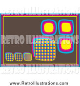 Retro Illustration of a Brown Retro Background of Colorful Boxes by Kaycee