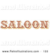 Retro Illustration of a Brown Saloon Sign over White by Andy Nortnik