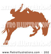 Retro Illustration of a Brown Silhouette of a Cowboy Riding a Bucking Bronco in a County Rodeo by Andy Nortnik