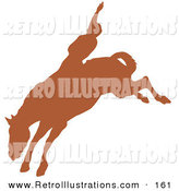 Retro Illustration of a Brown Silhouetted Country Cowboy Riding a Bucking Bronco and Holding One Arm up in the Air in a Rodeo by Andy Nortnik