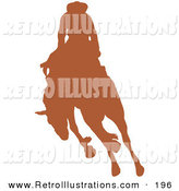 Retro Illustration of a Brown Silhouetted Cowboy Riding a Bucking Bronco in a Country Rodeo by Andy Nortnik