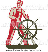 Retro Illustration of a Captain at the Helm by Patrimonio