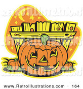 Retro Illustration of a Carved Halloween Pumpkin Patch by Andy Nortnik