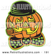 Retro Illustration of a Carved Orange Jack O Lantern Wearing a Hat and Bowtie and Grinning While Smoking a Pipe by Andy Nortnik