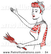 Retro Illustration of a Cheerful and Happy Red Haired Housewife or Maid Woman Wearing an Apron While Singing and Dancing and Using a Feather Duster by Andy Nortnik