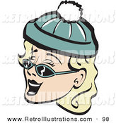 Retro Illustration of a Cheerful Blond Woman Wearing a Snow Cap and Sunglasses, Singing Christmas Carols Retro by Andy Nortnik