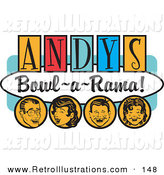 "Retro Illustration of a Cheerful Man, Woman, Boy and Girl, Laughing and Having Fun on a Vintage ""Andy's Bowl-A-Rama!"" Sign by Andy Nortnik"