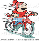 Retro Illustration of a Cheerful Red Haired Girl Speeding Downhill on Her Brand New Red Bike by Andy Nortnik