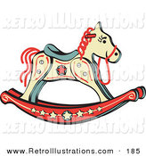 Retro Illustration of a Child's Rocking Horse with Star Decorations Retro Facing Right by Andy Nortnik