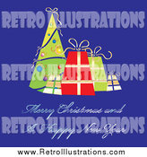 Retro Illustration of a Christmas Greeting with a Tree and Presents by MilsiArt