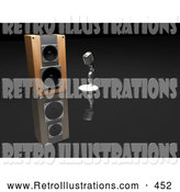 Retro Illustration of a Chrome Retro Microphone Beside a Speaker on a Reflective Glass Surface by KJ Pargeter