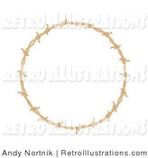 June 24th, 2012: Retro Illustration of a Circular Border Frame of Brown Barbed Wire over a White Background by Andy Nortnik