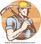 Retro Illustration of a Coal Miner Carrying a Pickaxe over a Brown Circle by Patrimonio