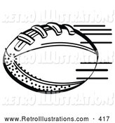Retro Illustration of a Coloring Page of an American Football Rushing Through the Air During a Game by Andy Nortnik
