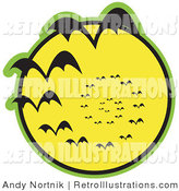 May 23rd, 2012: Retro Illustration of a Continuous Vortex Spiral of Black Vampire Bats Flying in Silhouette Against a Bright Full Yellow Moon and Slowly Disappearing in the Distance Clipart Illustration by Andy Nortnik
