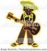 Retro Illustration of a Cool Black Cat Playing a Guitar and Wearing a Green Hat by Andy Nortnik