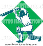 Retro Illustration of a Cricket Batsman and Green Diamond Logo by Patrimonio