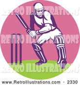 December 19th, 2013: Retro Illustration of a Cricket Batsman in a Pink Circle by Patrimonio