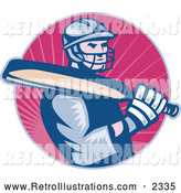December 2nd, 2013: Retro Illustration of a Cricket Batsman Player over Pink Rays by Patrimonio