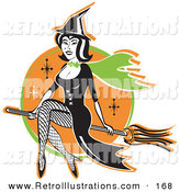 Retro Illustration of a Cute Black Haired Female Witch in a Pointy Hat, Long Black Dress and Fishnet Stockings, Sitting Cross Legged on a Broomstick While Flying Through the Night Sky by Andy Nortnik