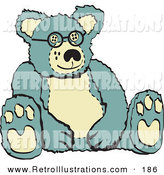 Retro Illustration of a Cute Blue and Tan Stuffed Teddy Bear Wearing Glasses Retro by Andy Nortnik