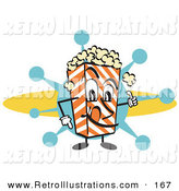 Retro Illustration of a Cute Popcorn Carton Character Filled with Buttery Popcorn by Andy Nortnik