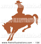 Retro Illustration of a Cutout Brown Silhouette of a Cowboy Riding a Bucking Bronco in a Rodeo by Andy Nortnik