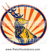 Retro Illustration of a Deer Stag in a Circle of Retro Rays by Patrimonio