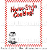 "Retro Illustration of a Electric Stand Mixer and Text Reading ""Home-Style Cooking!"" Borderd by Red Checkers by Andy Nortnik"