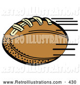 Retro Illustration of a Fast Brown Leather American Football Speeding Through the Air During a Game on White by Andy Nortnik