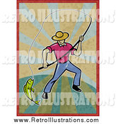 Retro Illustration of a Fly Fisherman Pulling in a Catch on Distressed Rays by Patrimonio