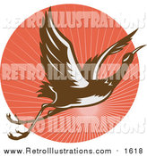 Retro Illustration of a Flying Heron Bird over a Retro Red Sunset Circle by Patrimonio
