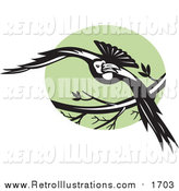 Retro Illustration of a Flying Raven over a Green Circle by Patrimonio