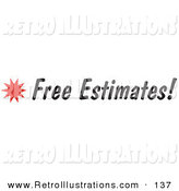 Retro Illustration of a Free Estimates Text on a Sign with a Star Burst by Andy Nortnik